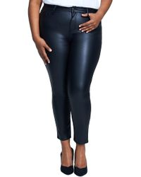 Seven7 - High Rise Coated Ponte Skinny Pants (plus Size) - Lyst