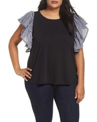 Sejour - Gingham Ruffle Sleeve Tee (plus Size) - Lyst