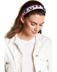 Cara - Faux Leather Geometric Beaded Headband - Lyst