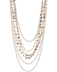 c.A.K.e. By Ali Khan - 3 Strand Faceted Glass Pearl Crystal Semi Precious Chips Rope Link Necklace & Earrings 2-piece Set - Lyst