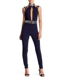 Wow Couture - Rhinestone Detail Mock Neck Jumpsuit - Lyst