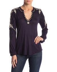 Lucky Brand - Embroidered Sleeve Peasant Top - Lyst