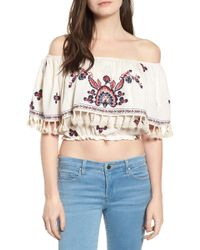 Raga - Tessi Embroidered Off-the-shoulder Crop Top - Lyst