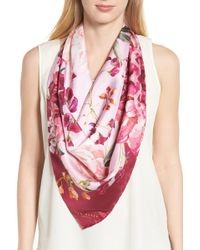 a9c66622504b Lyst - Ted Baker Ziba Palace Gardens Skinny Scarf in Pink