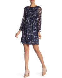 Cece by Cynthia Steffe - Long Sleeve Floral Print Smocked Dress - Lyst