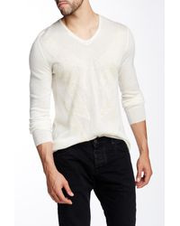 John Varvatos Patterned V-neck Sweater - White
