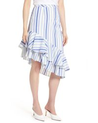 Halogen - Ruffle Hem Stripe Skirt (regular & Petite) - Lyst