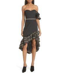 Caroline Constas - Cam Embroidered Asymmetrical Ruffle Dress - Lyst