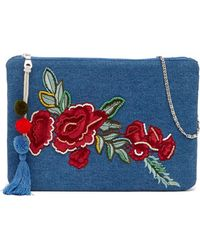 Steve Madden - Hazel Rose Embroidered Denim Crossbody Bag - Lyst