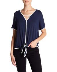 Bobeau - Gigi Contrast Trim Tie Front Shirt (petite) - Lyst