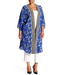 Bobeau - Boarder Print Kimono (plus Size) - Lyst