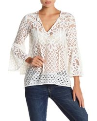 Love Stitch - Lace Bell Sleeve Blouse - Lyst