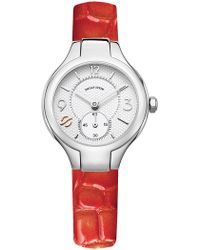 Philip Stein - Women's Small Signature Mother Of Pearl Alligator Embossed Strap Watch - Lyst