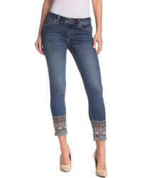 Miss Me - Floral Embroidered Skinny Jeans - Lyst