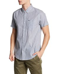 RVCA - Milkman Short Sleeve Slim Fit Shirt - Lyst