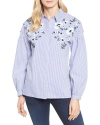 Halogen - Embroidered Button Down Shirt - Lyst