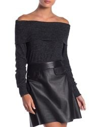 Go Couture - Long Sleeve Overlap Off-the-shoulder Sweater - Lyst