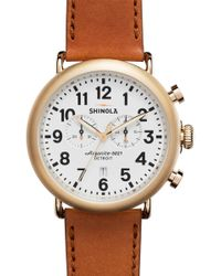 Shinola - Men's Runwell Chrono 47mm Leather Strap Watch - Lyst