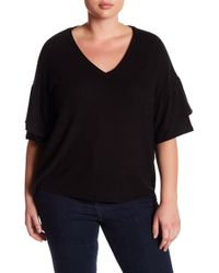 Heather by Bordeaux - Hacci Double Ruffle Sleeve Top - Lyst