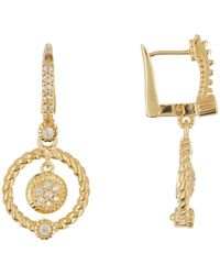 Judith Ripka - Gold Vermeil La Petite White Topaz Dangle Earrings - Lyst