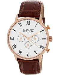 August Steiner - Men's Quartz Genuine Leather Bracelet Watch - Lyst