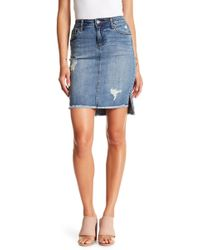 Kut From The Kloth - Conni Hi-lo Fray Hem Denim Skirt - Lyst
