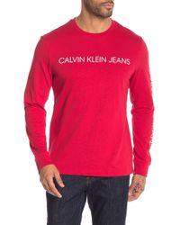 Calvin Klein - Logo Printed Long Sleeve Crew Neck Top - Lyst