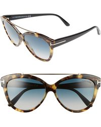 de5f696664 Tom Ford Sunglasses Livia Tf 518 Ft 52z Dark Havana   Gradient Or ...