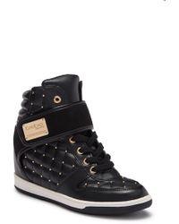 Bebe - Studded Hi-top Wedge Sneaker - Lyst