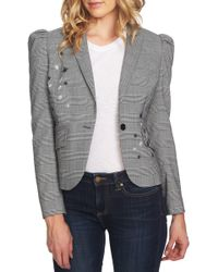 Cece by Cynthia Steffe - Glen Plaid Embroidered Detail Puff Sleeve Jacket - Lyst