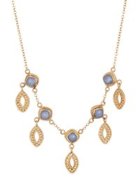 Anna Beck - 18k Gold Plated Sterling Silver Blue Chalcedony Marquis Dangle Necklace - Lyst