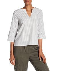 Michael Stars - Split Neck Ruffle Sleeve Striped Blouse - Lyst