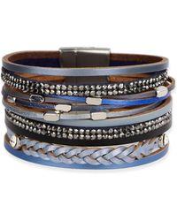 Saachi - Sufia Blue Genuine Leather Bracelet - Lyst