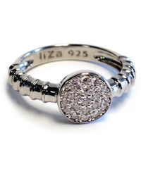 Liza Schwartz - Sterling Silver Pave Cz Touch Circle Ring - Lyst