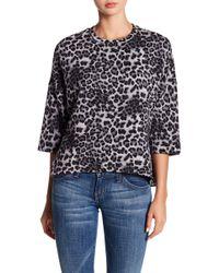 Heather by Bordeaux - Boxy Dolman Sleeve Leopard Print Knit Sweatshirt - Lyst
