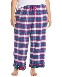 Jane & Bleecker New York - Contrast Cuff Print Flannel Trousers (plus Size) - Lyst