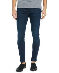 TOPMAN - Zip Hem Spray-on Skinny Jeans - Lyst
