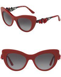 Dolce & Gabbana - 52mm Flowers Lace Cat Eye Sunglasses - Lyst