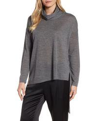 Eileen Fisher - Asymmetrical Merino Wool Sweater - Lyst