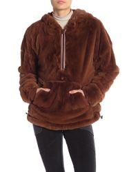 Free People - Off The Record Faux Fur Half Zip Hoodie - Lyst