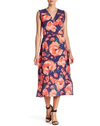 Joe Fresh - Floral Surplice Midi Dress - Lyst