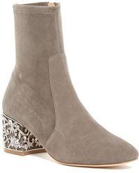 Badgley Mischka | Marli Crystal Embellished Block Heel Boot | Lyst