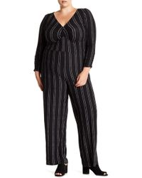 Derek Heart - Patterned 3/4 Sleeve Ruched Jumpsuit (plus Size) - Lyst