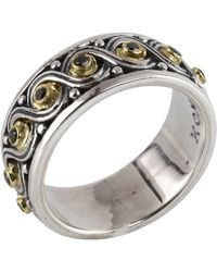 Konstantino - Sterling Silver & 18k Gold Pave Beaded Diamond Ring - Size 7 - Lyst