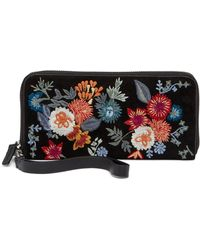Lucky Brand - Super Bloom Floral Embroidered Suede Zip Around Wallet - Lyst