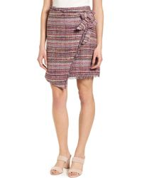 Halogen - Asymmetrical Grommet Tie Tweed Skirt - Lyst