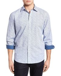 Bugatchi - Freehand Pin Lines Classic Fit Sport Shirt - Lyst