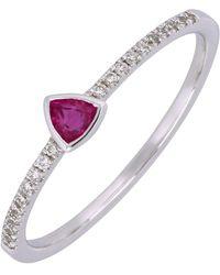 Bony Levy - 18k White Gold Bezel Set Trillion Cut Ruby & Pave Diamond Band Ring - Lyst