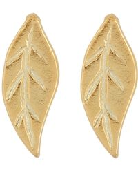 Argento Vivo - 18k Gold Plated Sterling Silver Leaf Stud Earrings - Lyst