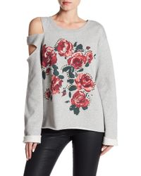 Sanctuary - Floral Print Front Embellished Trim Cutout Sleeve Pullover - Lyst
